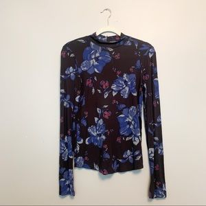 Free People Floral Turtleneck Small
